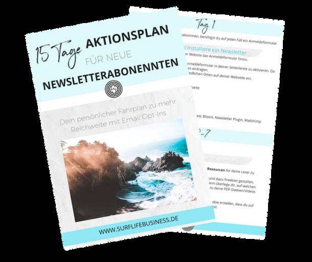 15 Tage Aktionsplan für neue Newsletterabonennten